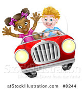 Vector Illustration of a Happy White Boy Driving a Black Girl and Catching Air in a Convertible Car by AtStockIllustration