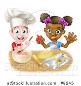 Vector Illustration of a Happy White Boy Making Frosting and Black Girl Making Cookies by AtStockIllustration