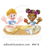 Vector Illustration of a Happy White Boy Making Frosting and Black Girl Making Star Cookies by AtStockIllustration