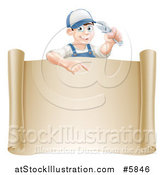 Vector Illustration of a Happy White Brunette Mechanic Man Holding a Wrench over a Scroll Sign by AtStockIllustration