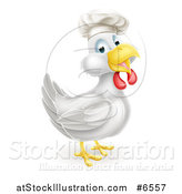 Vector Illustration of a Happy White Chicken Chef Facing Right by AtStockIllustration
