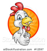 Vector Illustration of a Happy White Chicken or Rooster Giving a Thumb up and Emerging from a Circle of Sun Rays by AtStockIllustration