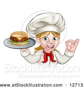 Vector Illustration of a Happy White Female Chef Gesturing Ok and Holding a Cheese Burger on a Tray by AtStockIllustration