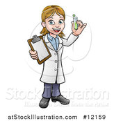 Vector Illustration of a Happy White Female Scientist Holding a Test Tube and Clipboard by AtStockIllustration