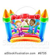 Vector Illustration of a Happy White Girl and Black Boy Jumping on a Bouncy House Castle by AtStockIllustration
