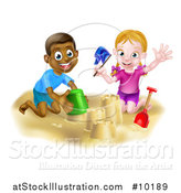 Vector Illustration of a Happy White Girl and Black Boy Playing and Making a Sand Castle by AtStockIllustration