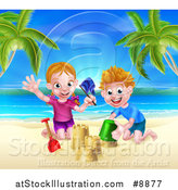 Vector Illustration of a Happy White Girl and Boy Playing and Making Sand Castles on a Tropical Beach by AtStockIllustration