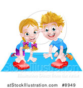 Vector Illustration of a Happy White Girl and Boy Playing with a Toy Car by AtStockIllustration
