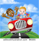 Vector Illustration of a Happy White Girl Driving a Red Convertible Car and a Black Boy Holding His Arms up in the Passenger Seat As They Catch Air by AtStockIllustration
