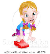 Vector Illustration of a Happy White Girl Playing with a Toy Car by AtStockIllustration