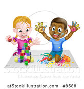 Vector Illustration of a Happy White Girl Playing with Toy Blocks and a Black Boy Hand Painting by AtStockIllustration