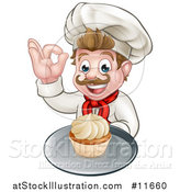 Vector Illustration of a Happy White Male Chef Baker Gesturing Ok and Holding a Cupcake on a Tray by AtStockIllustration