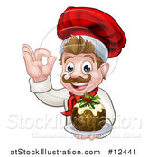 Vector Illustration of a Happy White Male Chef Gesturing Ok and Holding a Christmas Pudding by AtStockIllustration