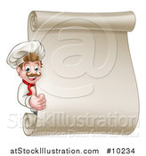 Vector Illustration of a Happy White Male Chef Giving a Thumb up Around a Scroll Menu Board by AtStockIllustration