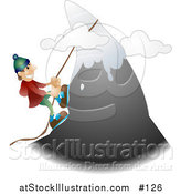 Vector Illustration of a Happy White Male Mountain Climber Climbing a Snow Capped Mountain by AtStockIllustration