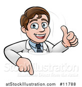 Vector Illustration of a Happy White Male Scientist Giving a Thumb up over a Sign by AtStockIllustration