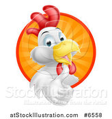 Vector Illustration of a Happy White Rooster Holding a Thumb up and Emerging from a Sunshine Circle by AtStockIllustration