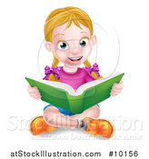 Vector Illustration of a Happy White School Girl Reading a Book on the Floor by AtStockIllustration