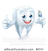 Vector Illustration of a Happy White Tooth Character Holding a Tube of Toothpaste and Giving a Thumb up by AtStockIllustration