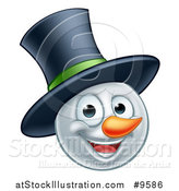 Vector Illustration of a Happy Winter Christmas Snowman Face with a Top Hat by AtStockIllustration