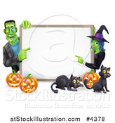 Vector Illustration of a Happy Witch and Frankenstein Pointing to a White Board Sign over Pumpkins and Black Cats by AtStockIllustration