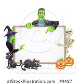 Vector Illustration of a Happy Witch Skeleton and Frankenstein Pointing to a White Board Sign over Pumpkins and Black Cats by AtStockIllustration