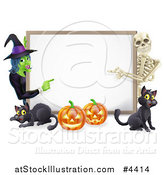 Vector Illustration of a Happy Witch Skeleton Pumpkins and Black Cats Around a Blank Sign by AtStockIllustration