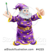 Vector Illustration of a Happy Wizard Holding a Green Wand and a Thumb up by AtStockIllustration