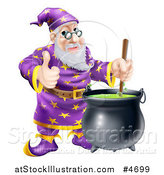 Vector Illustration of a Happy Wizard Holding a Thumb up and Stirring Contents in a Cauldron by AtStockIllustration