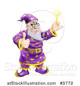 Vector Illustration of a Happy Wizard Holding a Wand and a Thumb up by AtStockIllustration