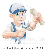 Vector Illustration of a Happy Worker Graduate Holding a Wrench and Certificate by AtStockIllustration
