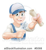 Vector Illustration of a Happy Worker Graduate Holding a Wrench and Degree by AtStockIllustration