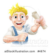 Vector Illustration of a Happy Worker Man Holding a Spanner Wrench and Degree by AtStockIllustration