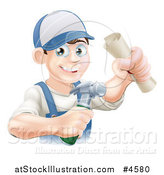 Vector Illustration of a Happy Worker Man Wearing a Hat and Holding a Hammer and Degree by AtStockIllustration