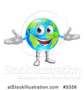 Vector Illustration of a Happy World Globe Mascot by AtStockIllustration