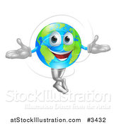 Vector Illustration of a Happy World Globe Mascot Standing by AtStockIllustration