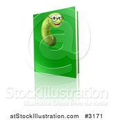 Vector Illustration of a Happy Worm Wearing Glasses and Emerging from a Green Book by AtStockIllustration