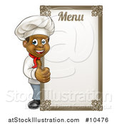 Vector Illustration of a Happy Young Black Male Chef Giving a Thumb up Around a Menu Board by AtStockIllustration