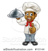Vector Illustration of a Happy Young Black Male Chef Holding a Cloche Platter and Giving a Thumb up by AtStockIllustration
