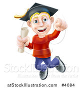 Vector Illustration of a Happy Young Blond Graduate Man Jumping with a Scroll in Hand by AtStockIllustration