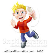 Vector Illustration of a Happy Young Blond Man Jumping with a Scroll in Hand by AtStockIllustration