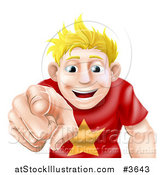 Vector Illustration of a Happy Young Blond Man Pointing Outwards by AtStockIllustration