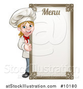 Vector Illustration of a Happy Young Blond White Female Chef Giving a Thumb up Around a Menu Board by AtStockIllustration