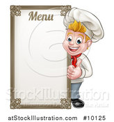 Vector Illustration of a Happy Young Blond White Male Chef Giving a Thumb up Around a Menu Board by AtStockIllustration