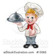 Vector Illustration of a Happy Young Blond White Male Chef Holding a Cloche Platter and Giving a Thumb up by AtStockIllustration