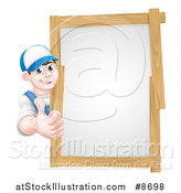 Vector Illustration of a Happy Young Brunette Caucasian Mechanic Man in Blue, Wearing a Baseball Cap, Giving a Thumb up Around a Wood Framed Sign by AtStockIllustration