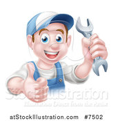 Vector Illustration of a Happy Young Brunette Caucasian Mechanic Man in Blue, Wearing a Baseball Cap, Holding a Wrench and Thumb up by AtStockIllustration
