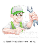 Vector Illustration of a Happy Young Brunette Caucasian Mechanic Man in Green, Wearing a Baseball Cap, Holding a Wrench and Pointing by AtStockIllustration