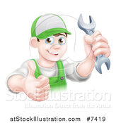 Vector Illustration of a Happy Young Brunette Caucasian Mechanic Man in Green, Wearing a Baseball Cap, Holding a Wrench and Thumb up by AtStockIllustration