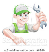 Vector Illustration of a Happy Young Brunette Caucasian Mechanic Man in Green, Wearing a Baseball Cap, Holding a Wrench over a Sign by AtStockIllustration